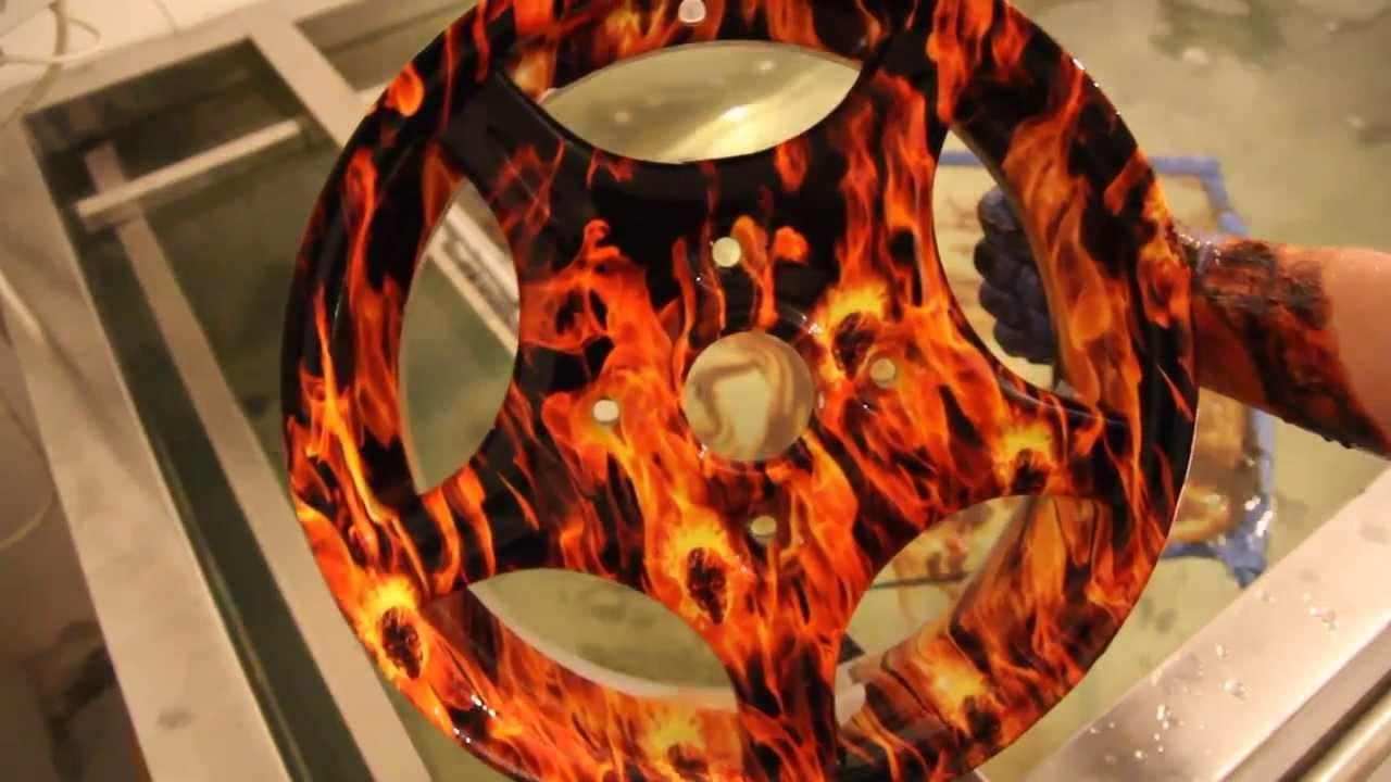 Hydrodipping Alloy Wheel In Flames Pattern Youtube