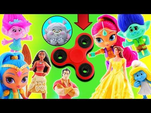 Fidget Spinner Game Shimmer & Shine Singing Competition! Teams include Trolls, Smurfs, Moana & Belle