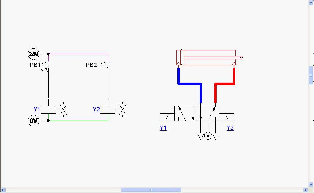 Double acting cylinder ladder diagram  YouTube