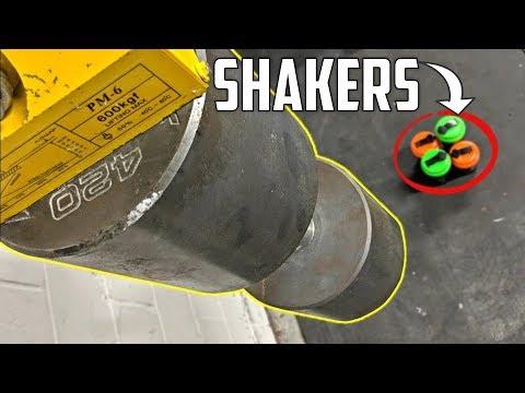 WORLD'S HEAVIEST DUMBBELL vs SHAKER BOTTLES from 4.5 FEET!