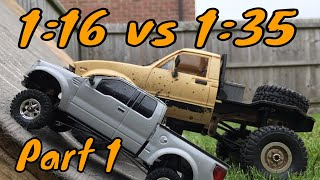 1:16 Vs 1:35 Scale Truck climbing test. WPL C14 Vs Orlandoo Hunter part 1. David & Goliath