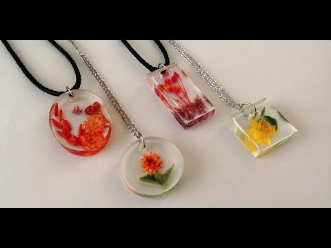 EPOKSİ ÇİÇEK KOLYE  - EPOXY FLOWER NECKLACE - DIY