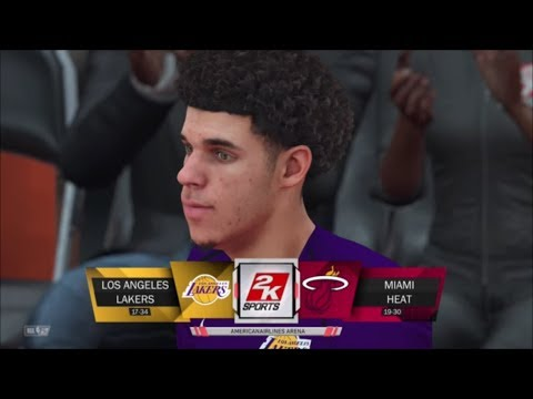 NBA 2k18 LAKERS VS HEAT 5 vs 5 GAMEPLAY HD!!! LONZO BALL FIRST LOOK IN GAME