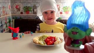 Английский для детей. Уроки для малышей. Тролли и Великан. Готовим фруктовый салат - изучаем фрукты