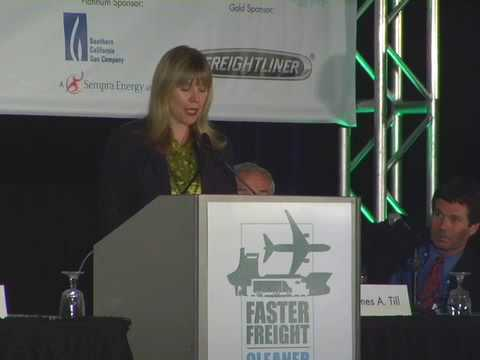 Sherry Beall as Master of Ceremonies for the Faster Freight, Cleaner Air Conference