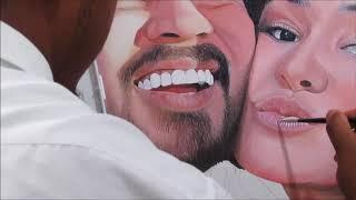 Pintura em tela Bráulio Bessa e Camila