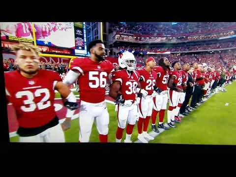 The Dallas Cowboys and the Arizona Cardinals national anthem 2017 Monday Night Football