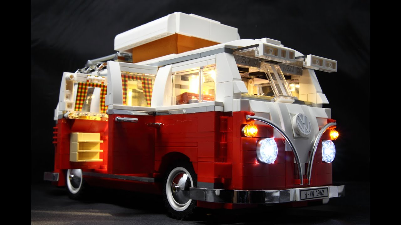 lego 10220 volkswagen t1 camper van led installed demo. Black Bedroom Furniture Sets. Home Design Ideas