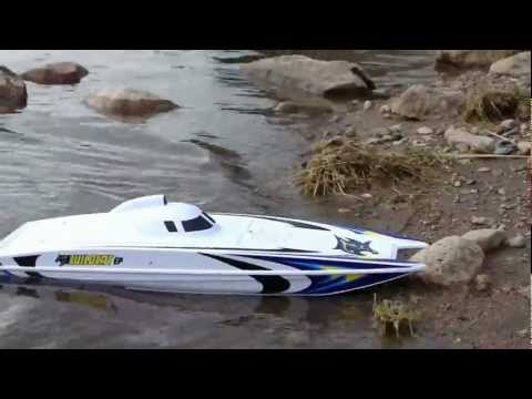 RC BOAT AQUACRAFT WILDCAT OFFSHORE CATAMARAN GPS SPEED TEST