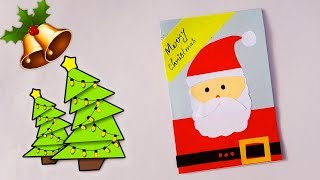 Santa christmas card | How to make Christmas Cards for kids | Greeting Card DIY Tutorial