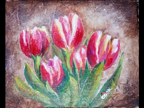 How to Paint Tulips on a Absorbent Ground with Acrylic Paints by Ginger Cook