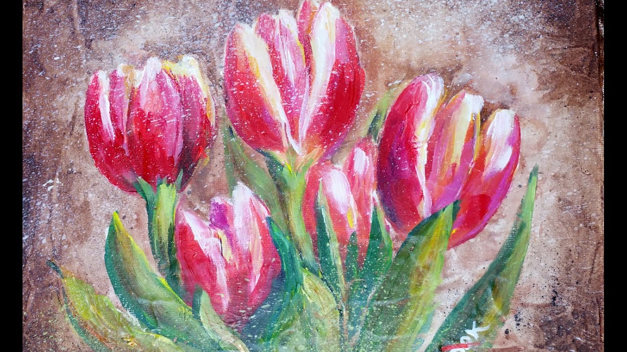 How To Paint Acrylic Tulips Youtube