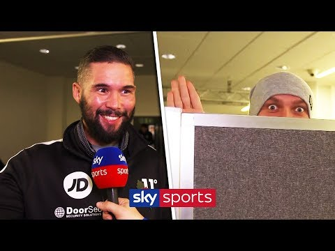 FUNNY FELLA! Oleksandr Usyk spies on Tony Bellew during Sky Sports interview 😂