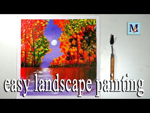 -EASY LANDSCAPE PAINTING | ACRYLIC PAINTING | ABSTRACT SCENERY PAINTING-(STEP BY STEP) – FOR BEGINNER