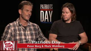 Peter Berg & Mark Wahlberg talk Patriots Day and New England Patriots without Gronkowski