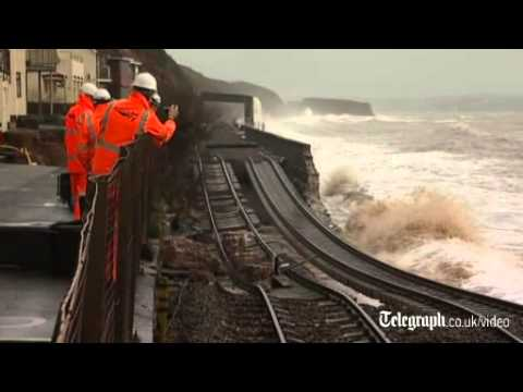 Dawlish as sea wall collapses