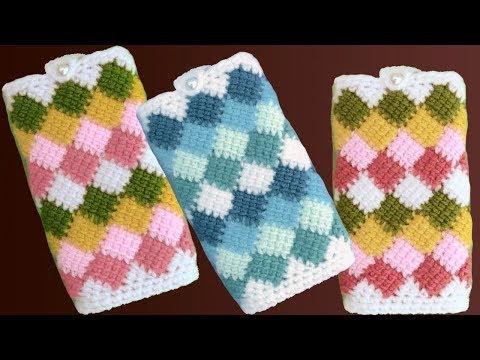 Fundas fáciles a Crochet para celulares en punto Entrelac de colores tejido tallermanualperu