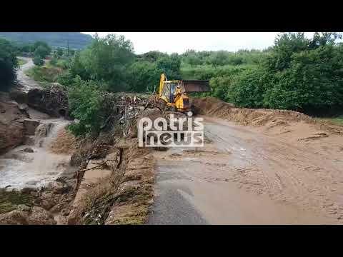 Πλημμύρες στην Ηλεία - Εικόνες καταστροφής