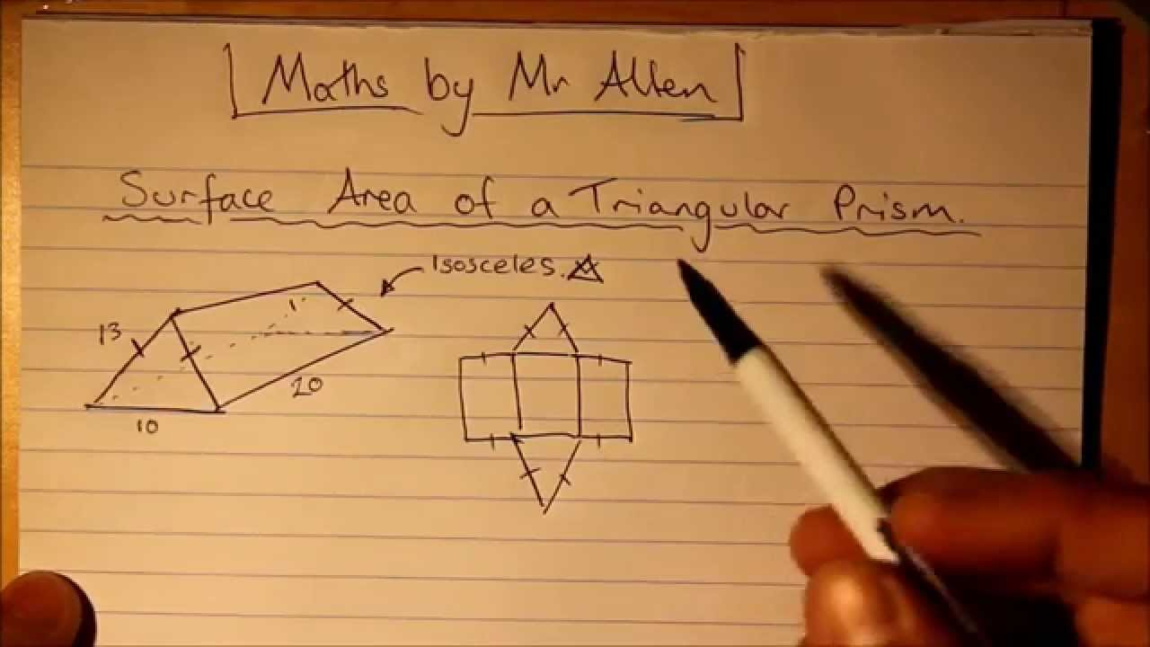 Intro To Surface Area Of A Triangular Prism Finding