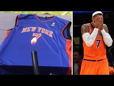 0f3d0119 KNICKS FAN REACTION TO CARMELO ANTHONY BEING TRADED TO THE THUNDER (BURNED  JERSEY?)
