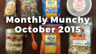 Monthly Munchy October 2015 Unboxing & Half Off Coupon - Snack & Treat Subscription Box
