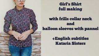 Stylish ruffle collar girl's shirt full tutorial