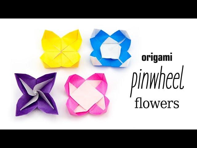 Origami Pinwheel Flower Tutorial - 4 Variations! - Paper Kawaii