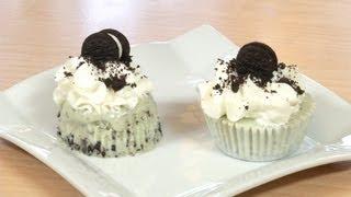 Cupcakes de Helado de Menta con Chips de Chocolate y Galletas Oreo