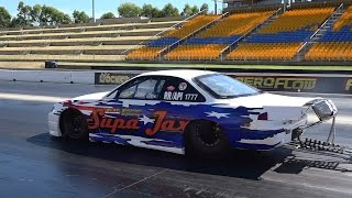 MR ENFORCER ENGINEERING ROTARY POWERED 200SX GETS OUT OF SHAPE AT 160 MPH SYDNEY DRAGWAY