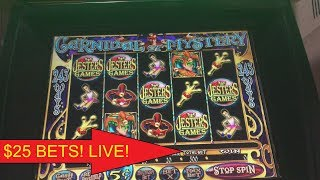 $700 LIVE PLAY CAN I JACKPOT? $25 BETS CARNIVAL OF MYSTERY SLOT MACHINE!