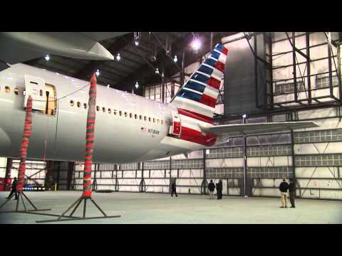 The process of painting American Airlines new livery on our new 777-300ER