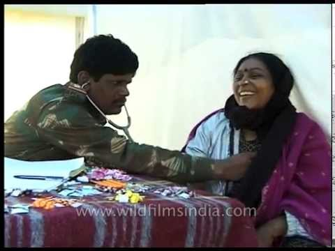 Woman being treated at medical camp during Amarnath pilgrimage
