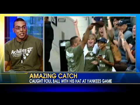 Wounded Vet Catches Foul Ball With Hat at Yankee Game