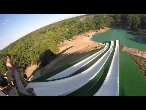 Water slide with a HUGE jump at BSR Cable Park in Waco, TX - YouTube