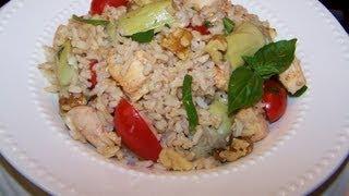 Healthy Chicken Pesto Rice Salad Recipe
