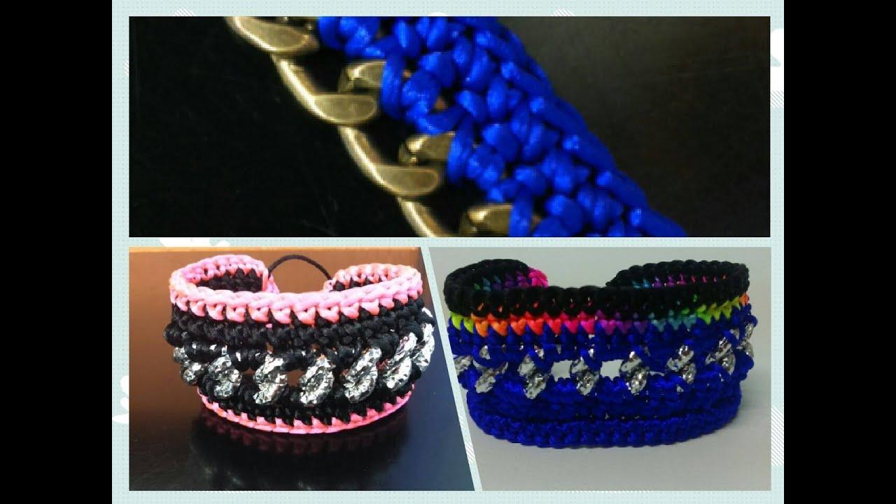 como hacer una pulsera de cadena mas crochet o ganchillo 1ª PARTE