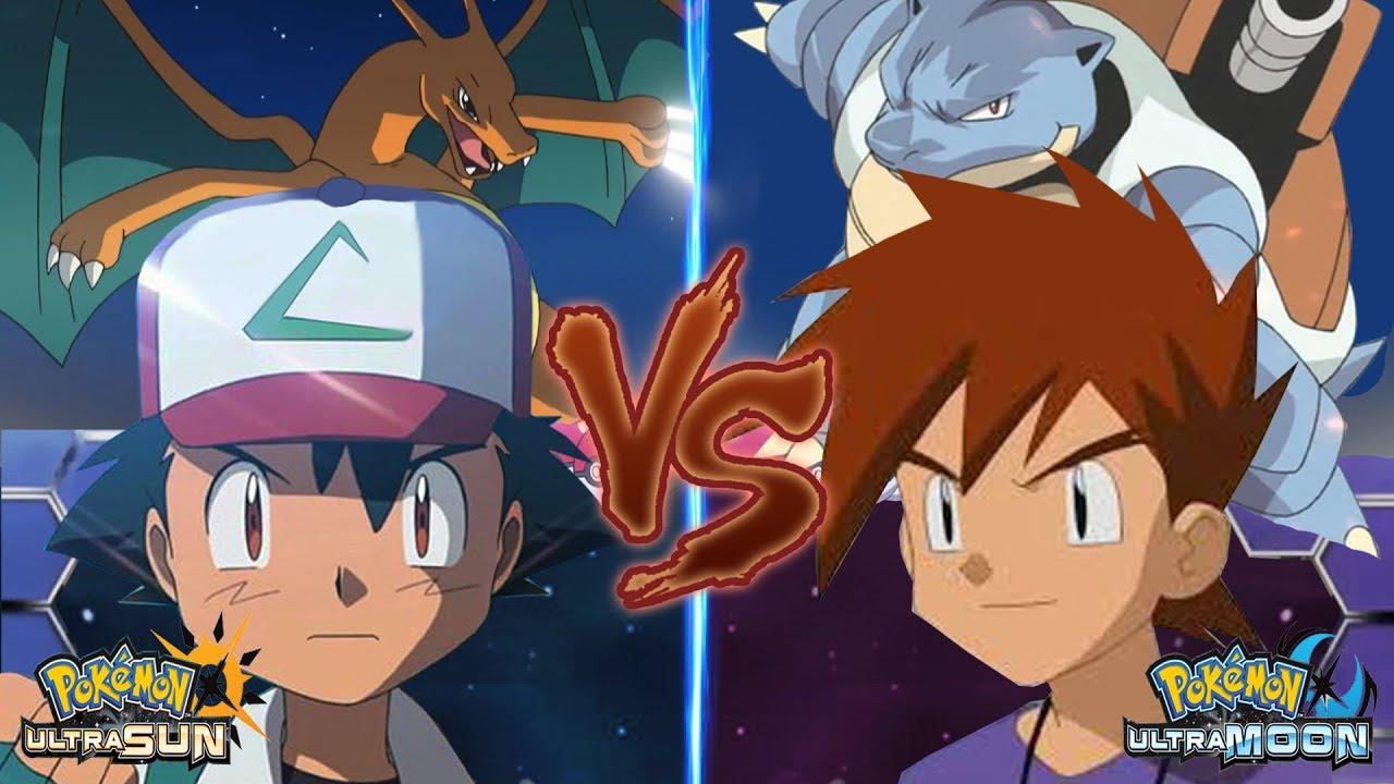 Pokemon Battle Usum Ash Vs Gary Pokemon League Gary Vs Ash Kanto