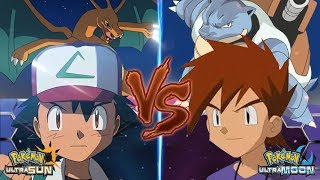 Pokemon Battle USUM: Ash Vs Gary (Pokémon League Gary Vs Ash Kanto)
