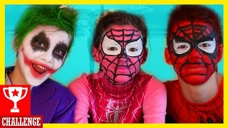 FACE PAINT CHALLENGE! Spiderman & Spidergirl vs Joker! Fart! Superheros in Real Life |  KITTIESMAMA