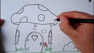 How To Draw a Mushroom Smurf House