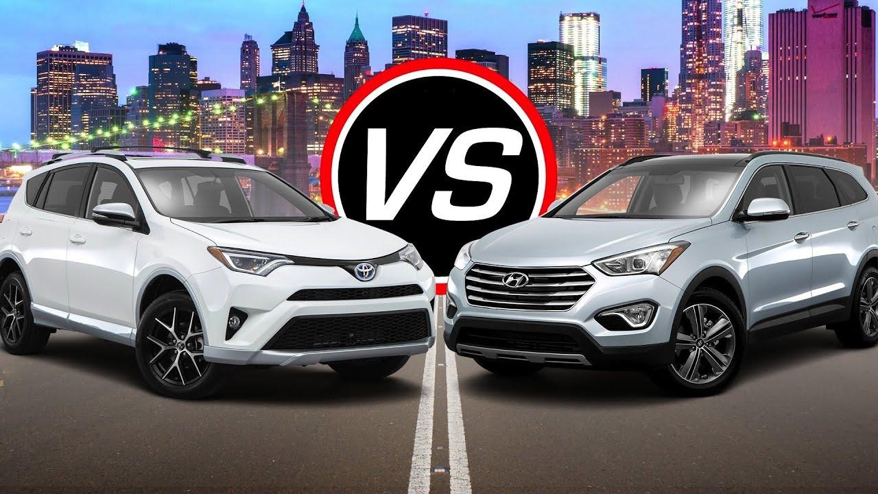 Toyota Santa Fe >> 2016 Toyota RAV4 Hybrid vs Hyundai Santa Fe SE - Spec Comparison! - YouTube
