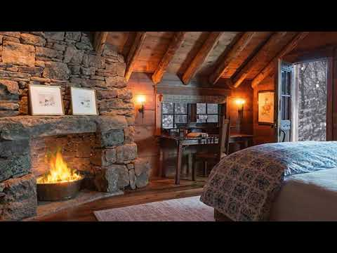 Fireplace in a Winter House - Cozy Cabin Ambience - ASMR