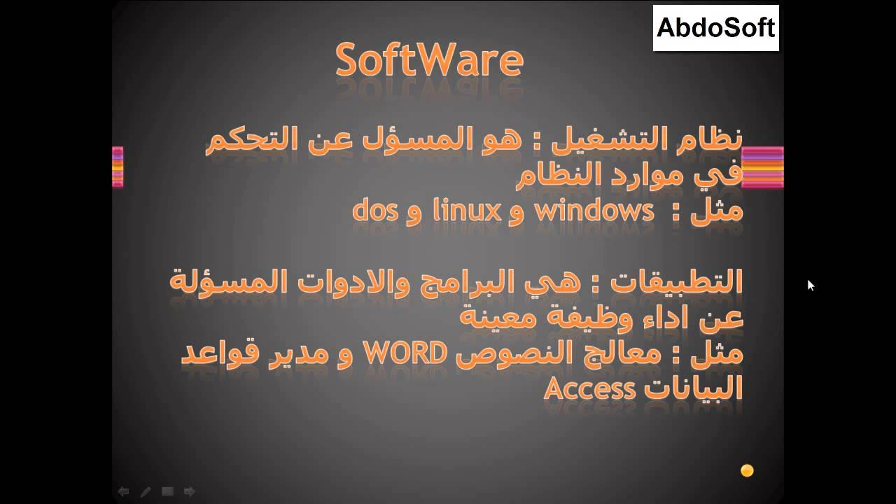 الدرس الثاني ماهو السوفت وير Software Youtube