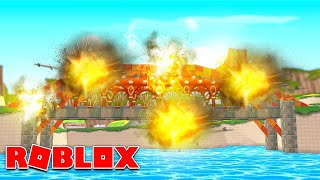DESTROY THE BRIDGE!! Roblox Blowing up a giant bridge!