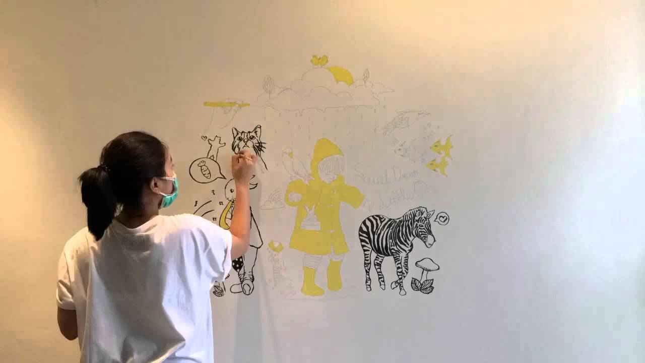 Sweet dream baby room wall painting youtube for Dream of painting a room white