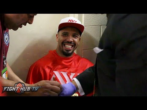 Andre Ward Immediately after Beating Kovalev Backstage Celebrating
