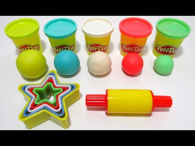 Учим цвета и размеры на английском с пластилином Play-Doh и формочками звёзды.