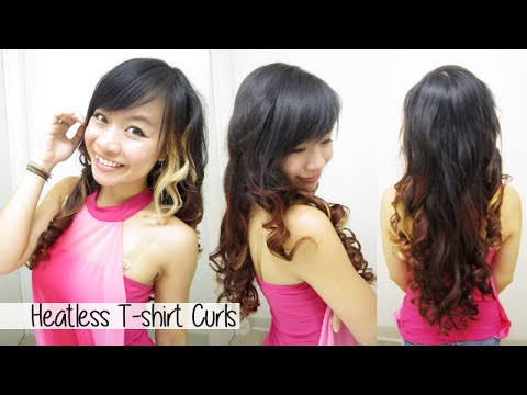 how to curl hair without heat l heatless t shirt curls rag curls l no heat curls waves youtube