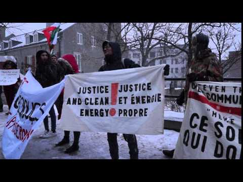 Anti-Pipeline Protest During Justin Trudeau Visit To Montreal City Hall 00050