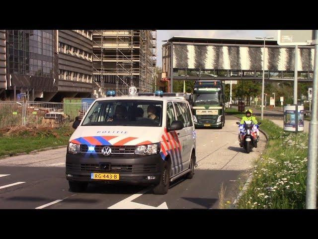 Stamcel Transport Sanquin vertrekt onder Politie Spoedbegeleiding  vanaf Leiden naar Amsterdam